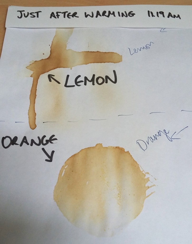 orange juice and lemon juice invisible ink - their appearance once warmed