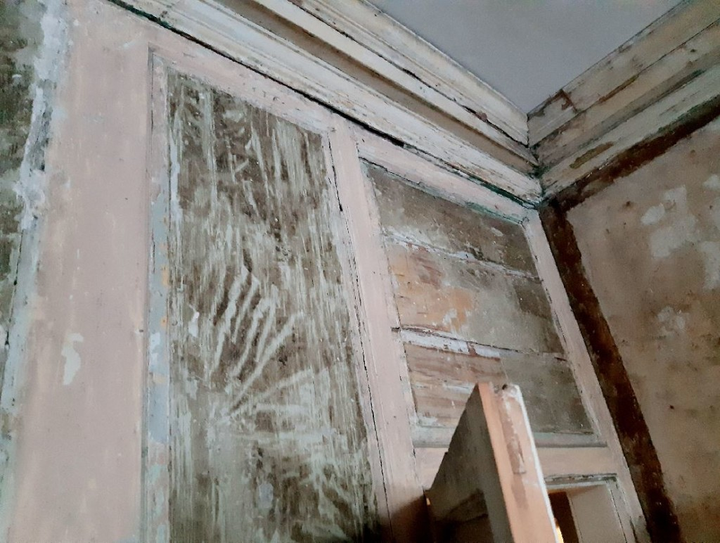 Unrestored Georgian panelling and plasterwork